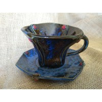 Blue coffee cup and saucer